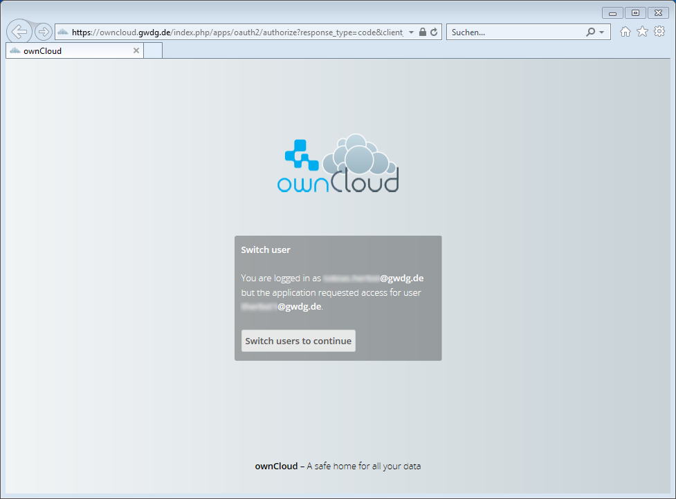 GWDG ownCloud Client Login SSO oAuth Switch User