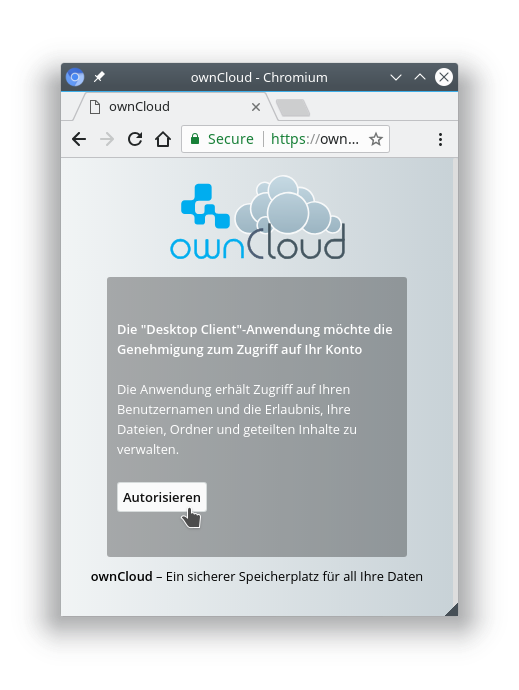 owncloud Login authorize client