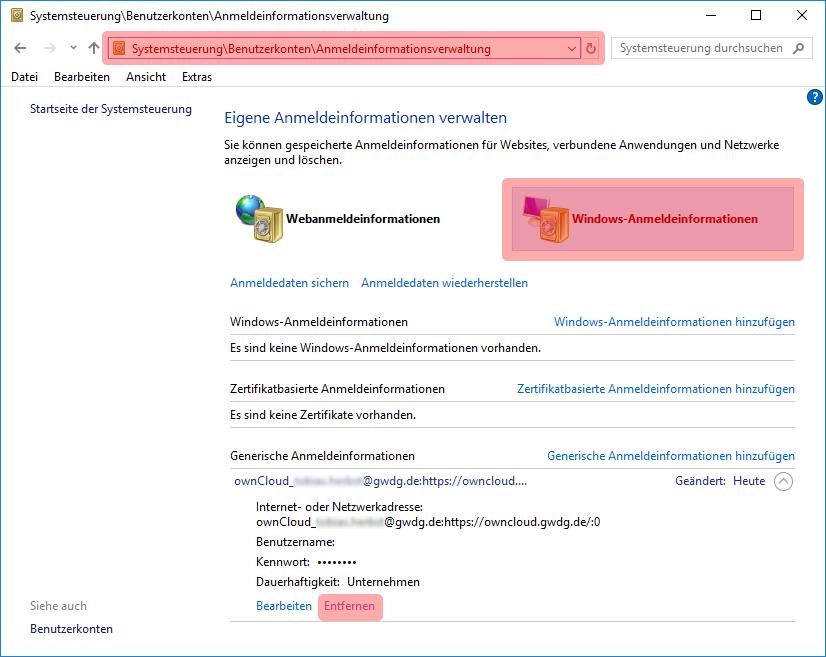 Windows Anmeldeinformationsverwaltung