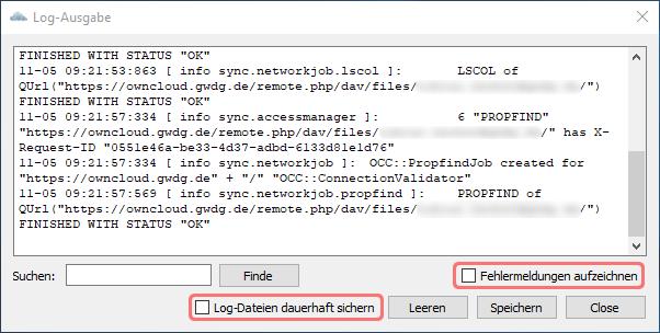 Logging im ownCloud Client