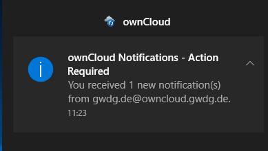 Benachrichtung des ownCloud-Clients in Windows